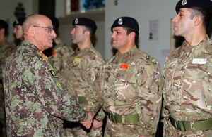 AFGHAN ARMY CHIEF PAYS TRIBUTE TO UK TROOPS IN VISIT TO SANDHURST